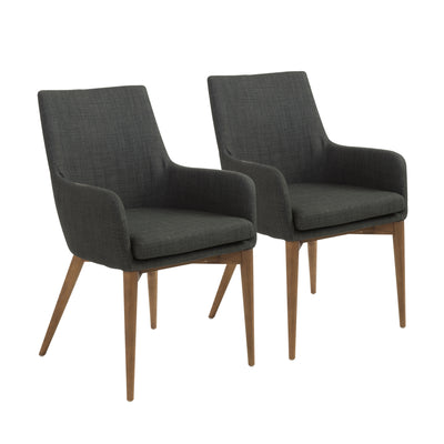 Classic Charcoal Fabric Guest or Conference Armchair (Set of 2)