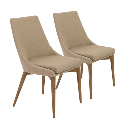 Armless Tan Fabric Guest or Conference Chair (Set of 2)