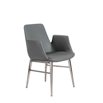 Dark Gray Leatherette & Brushed Steel Guest or Conference Chair