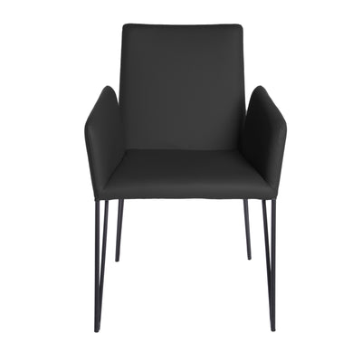 Black Padded Leatherette Conference or Guest Armchair