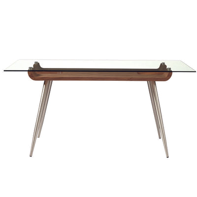 "Elegant Glass-Top 63"" Executive Office Desk w/ Stainless Steel Legs"