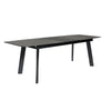 "71-91"" Dark Gray Ceramic Glass Desk or Conference Table with Black Central Leaf"