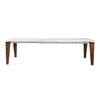 "Modern Extending 71-111"" White Glass Conference Table or Desk with Solid Wood Legs"