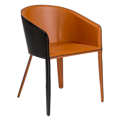 Black & Cognac Guest or Conference Chair in Leather & Steel