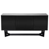 Classic Black Storage Credenza w/ Ash Gray Ceramic Glass Top