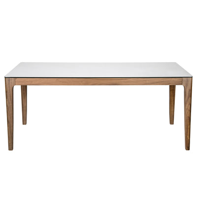 "71"" Classic White Ceramic Glass & Walnut Executive Desk"