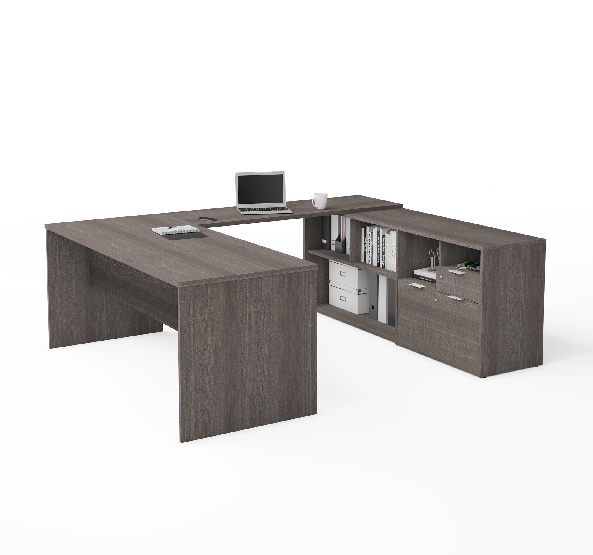 Modern U-Shaped Office Desk in Bark Grey with Credenza