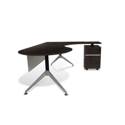Modern Espresso L-shaped Premium Teardrop Desk with Integrated File