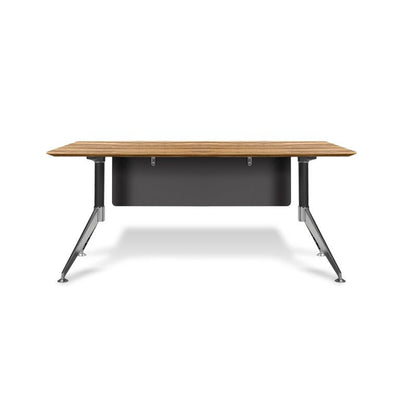 "Modern Zebrano 63"" Executive Office Desk with Chrome Base"