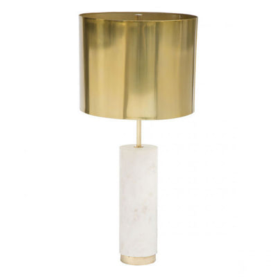 Sumptuous Brass & White Marble Office Table Lamp