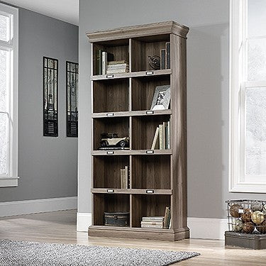 "75"" Elegant Bookcase with ID Tags in Salt Oak Finish"