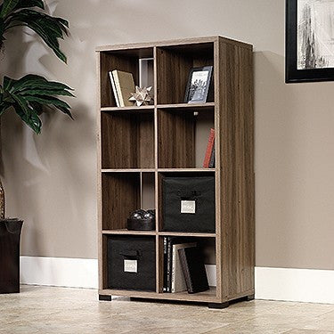 "55"" Bookcase with Two Fabric Storage Bins in Salt Oak Finish"