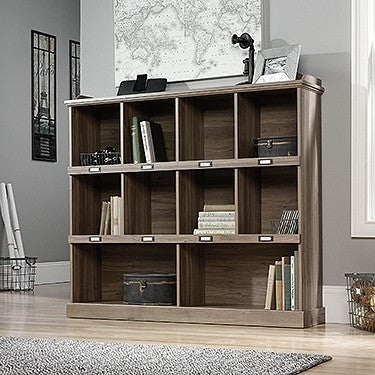 Modern Bookcase with Labeled Cubby Holes in Salt Oak Finish