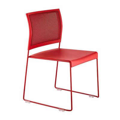Stackable Mesh and Steel Guest or Conference Chairs in Black or Red (Set of 4)