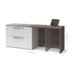 Extending Desk / File Cabinet Combination in White & Bark Gray Finish