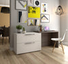 Dual Extending Desk / File Cabinet Combination in White & Bark Gray Finish