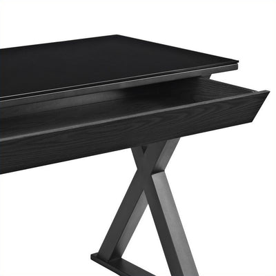 "48"" Black Modern X-Frame Desk with Drawer & Glass Top"