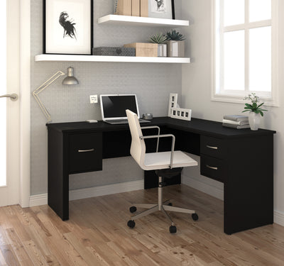 Black Modern Corner Desk with File Drawer