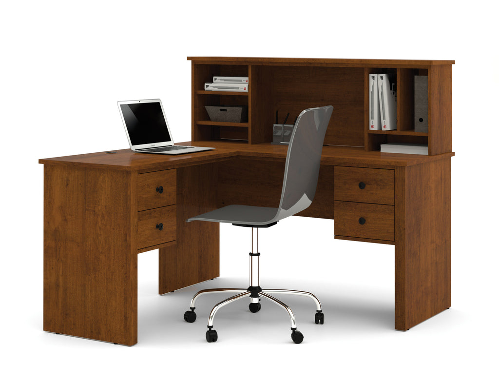 Somerville l shaped desk with hutch in tuscany brown or for S shaped office desk