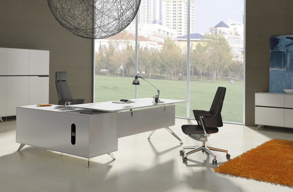 Modern White Lacquer L Shaped Executive Desk With Storage