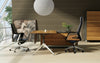 Modern Zebrano Wood L-shaped Executive Desk with Storage