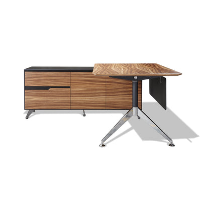 Modern Zebrano Wood L-shaped Desk with Storage (Left Return)