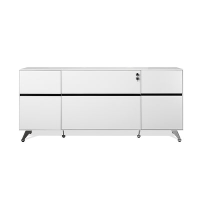 Modern White Lacquer L-shaped Desk with Storage (Left Return)