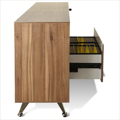 "Modern Walnut 63"" Storage Credenza with File Drawer (ASSEMBLED)"