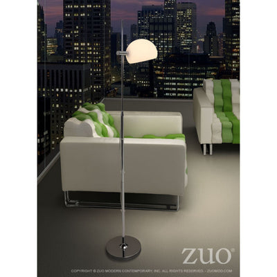 Minimalist Floor Lamp w/ Frosted Glass Shade