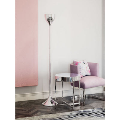 Slim & Subtle Silver Chrome Office Floor Lamp