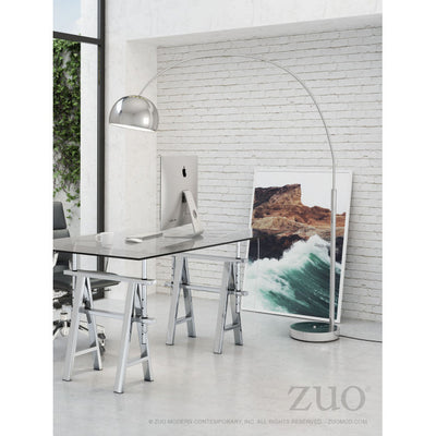 Dramatic Arched Chrome Floor Lamp