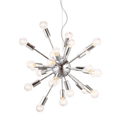 Silver Chrome & Bare Bulb Hanging Office Lamp