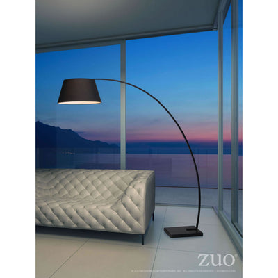 Simple Arched Floor Lamp w/ Black Metal & Black Shade