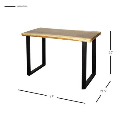 "47"" Suar Wood & Steel Office Desk w/ Natural Edge"