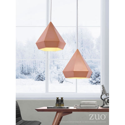 Bold Rose Gold Triangular Office Pendant Light