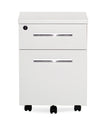 White Lacquer & Chrome Locking Mobile File Cabinet (Assembled)