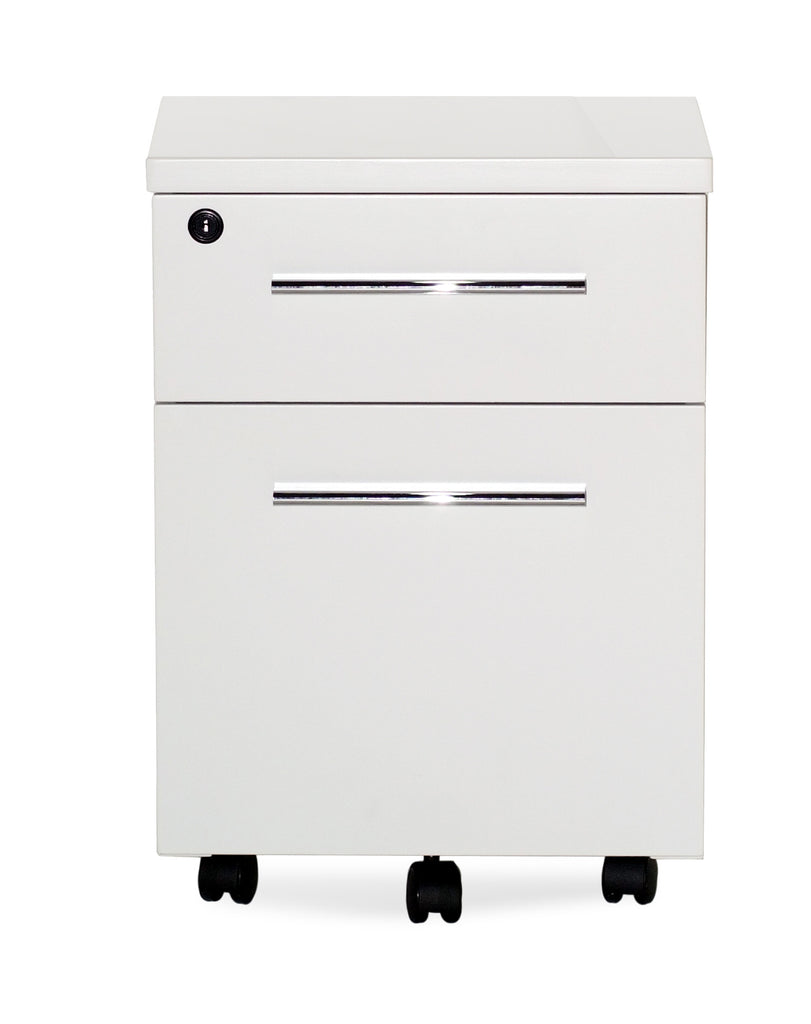 White Lacquer Cabinet white lacquer & chrome locking mobile file cabinet (assembled