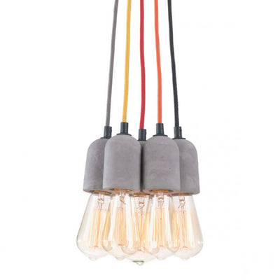 Multi-Colored Bulb Hanging Lamp w/ Faux Cement