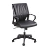 Mid-Back Cushioned Black Leather Rolling Office Chair