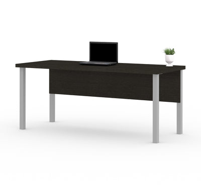 "Deep Gray 71"" Executive Desk with Metal Legs & Privacy Panel"