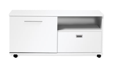 "47"" White Lacquer & Chrome Credenza / Storage  Unit"