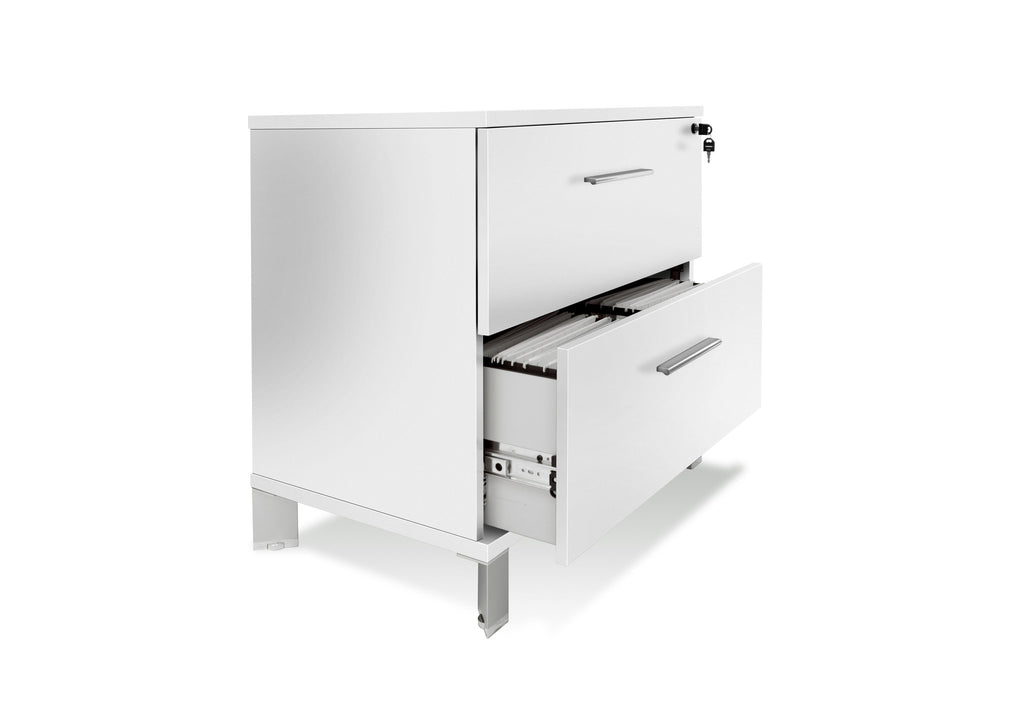 "Ultra Modern 32"" Locking White Lacquer & Chrome Lateral File (Assembled)"