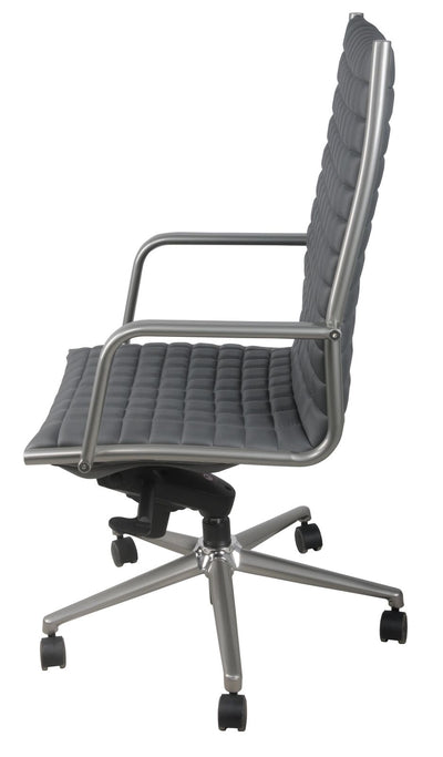 Gray Checkerboard Office Chair in Leatherette