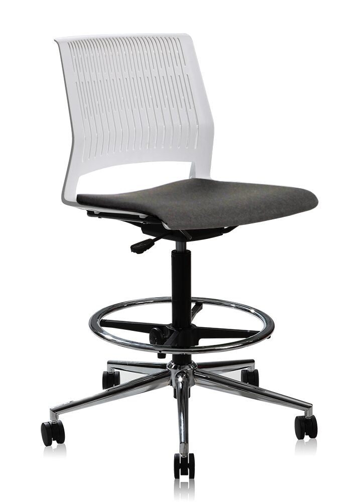 White Adjustable High Drafting Office Chair