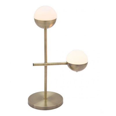 Brass & Frosted Glass Mid-Century Office Table Lamp