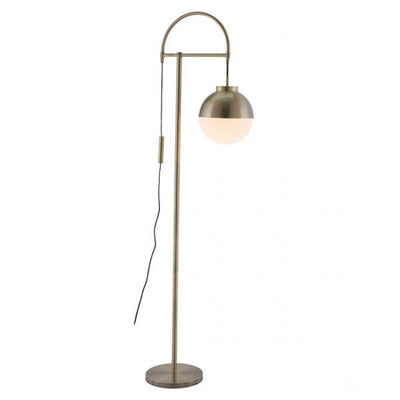 Brass & Frosted Glass Mid-Century Office Floor Lamp