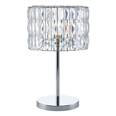 Glittering Chrome & Faceted Crystals Table Lamp