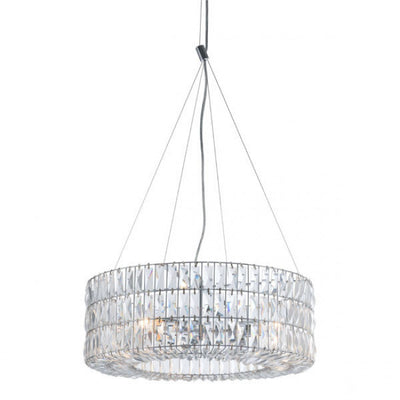 Glittering Chrome & Faceted Crystals Office Chandelier