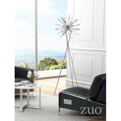 Airy Chrome Metal Office Floor Lamp