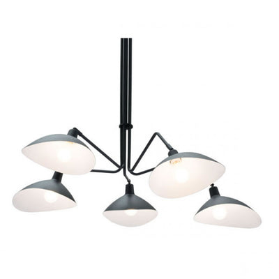 Adjustable Scoop-Style Hanging Ceiling Light in Black & White